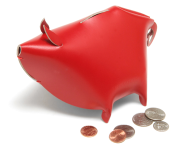 red leather piggy bank