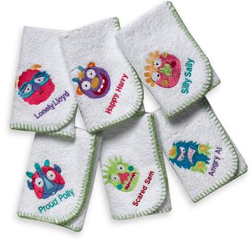 Moody Monsters 6 pack Washcloth Set   15. kids monster bathroom set   T  Rex   Me s Weblog